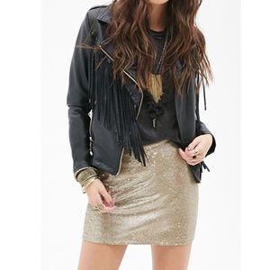 Forever 21 Gold Sequined Mini Skirt
